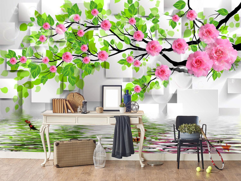 3D Prune Fleur 15 Photo Papier Peint en Autocollant Murale Plafond Chambre Art