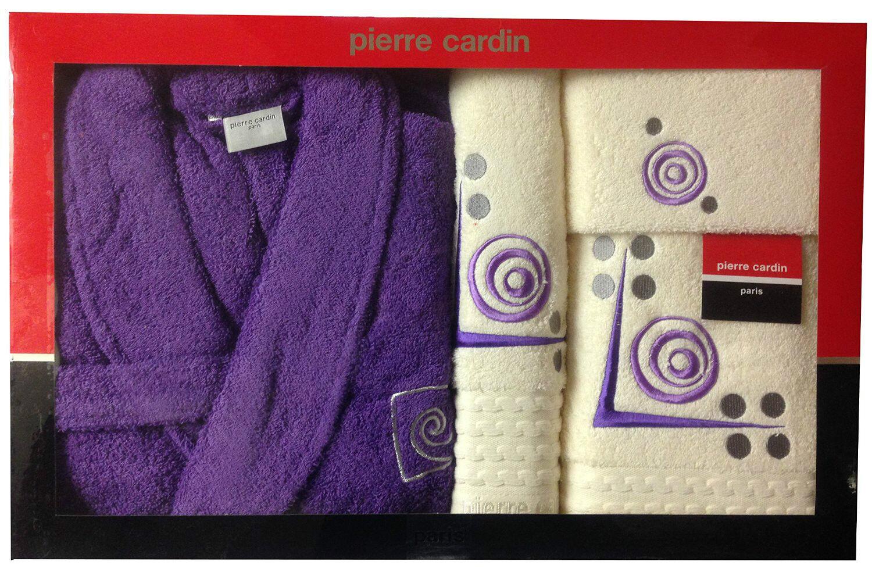 Pierre CARDIN peignoir de luxe 4 pièces ensemble de serviettes en coton broderie crème violet
