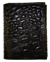 Trifold Crocodile Embossed Credit Card Id Leather Black Men's Wallet Brand