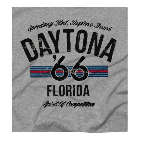 Racing Print Grey T-shirt Daytona beach Speedway Nascar Motocross Retro U.S