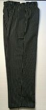 New Chef Baggy Chef Pants Mens Xl Classic Black With White Pin Stripe Cotton