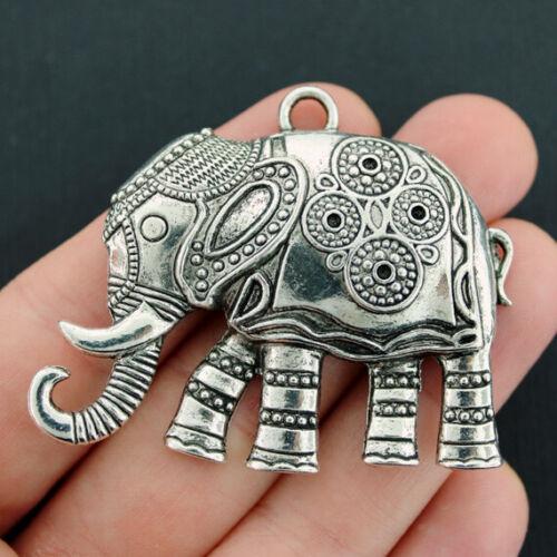 Elephant Pendant Charm Antique Silver Tone Large Size Beautiful Detail SC4466