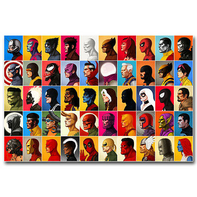 "Marvel Superheroes Comic Silk Poster 12x18 24x36/"" Superman The Flash Iron Man"