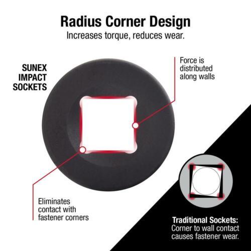 Sunex Impact Socket Set 1//2 Inch Wobble Drive Extension Tool Accessory 4 Piece
