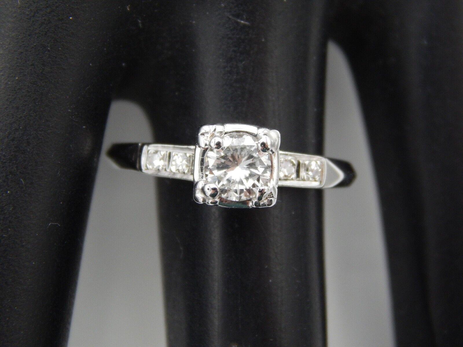 14k WG .50 tcw Art Deco Diamond Engagement Ring G SI1 Transitional Cut Estate