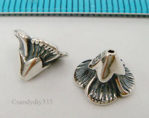 2x-OXIDIZED-STERLING-SILVER-FLOWER-CONE-BEAD-CAP-8mm-6-3mm-1988