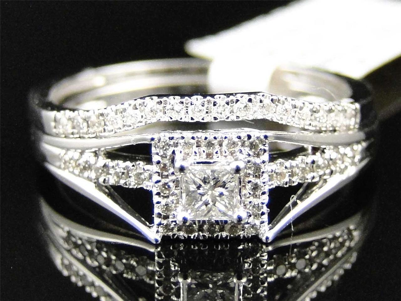 Ladies 10K White gold Solitaire Princess Cut Diamond Engagement Wedding Ring Set
