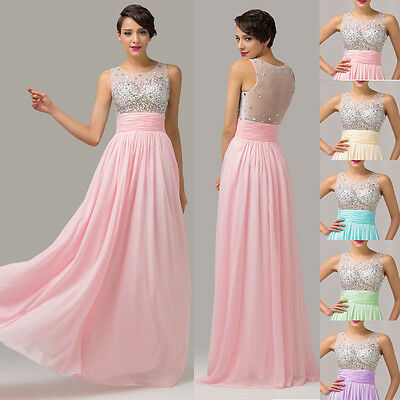 Long Maxi Sheer Beads Sexy Lady Cocktail Ballgown Dresses Bridesmaid Evening NEW