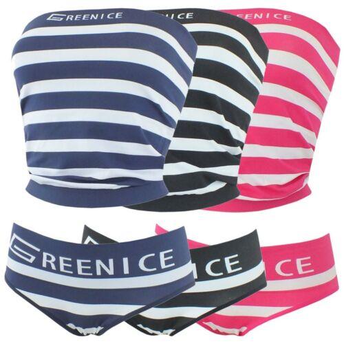 Damen Microfaser Unterwäsche Set mit Blockstreifen Bandeau Top Slip 2 Größen