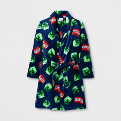 4//5 New Minecraft Creeper Mob TNT Luxe Blue Fleece Robe Boys Plush X-Small