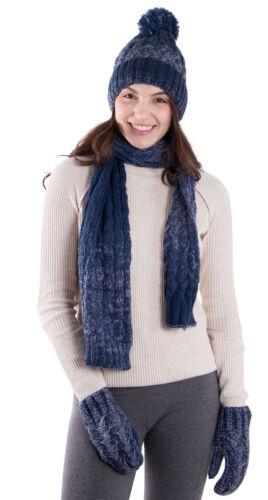 Women Lady Adult 3 Pcs Winter Knit Gift Set Beanie Cuff Ski Hat Scarf Gloves