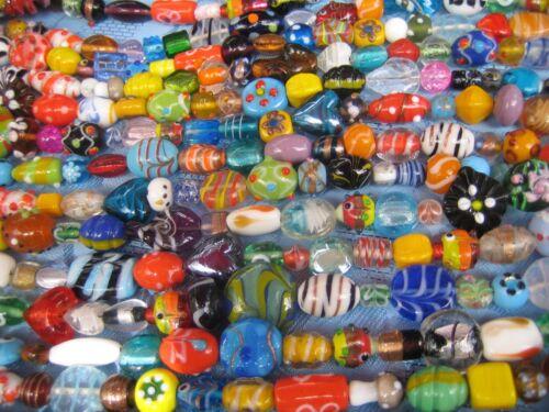 PERLES DE VERRE MIX Magnifique Coloré Lampwork Perles 3 brins par 20 pièces environ 190 g