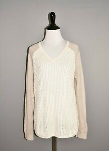BANANA-REPUBLIC-79-Beige-White-Crochet-V-Neck-Sweater-Medium