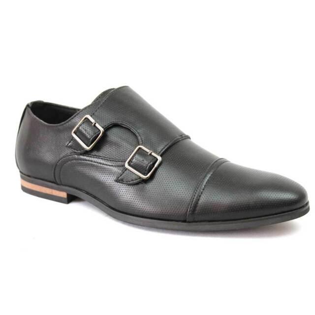 Mens Ferro Aldo Black Dress Shoes Monk Strap Buckle 19396 Leather