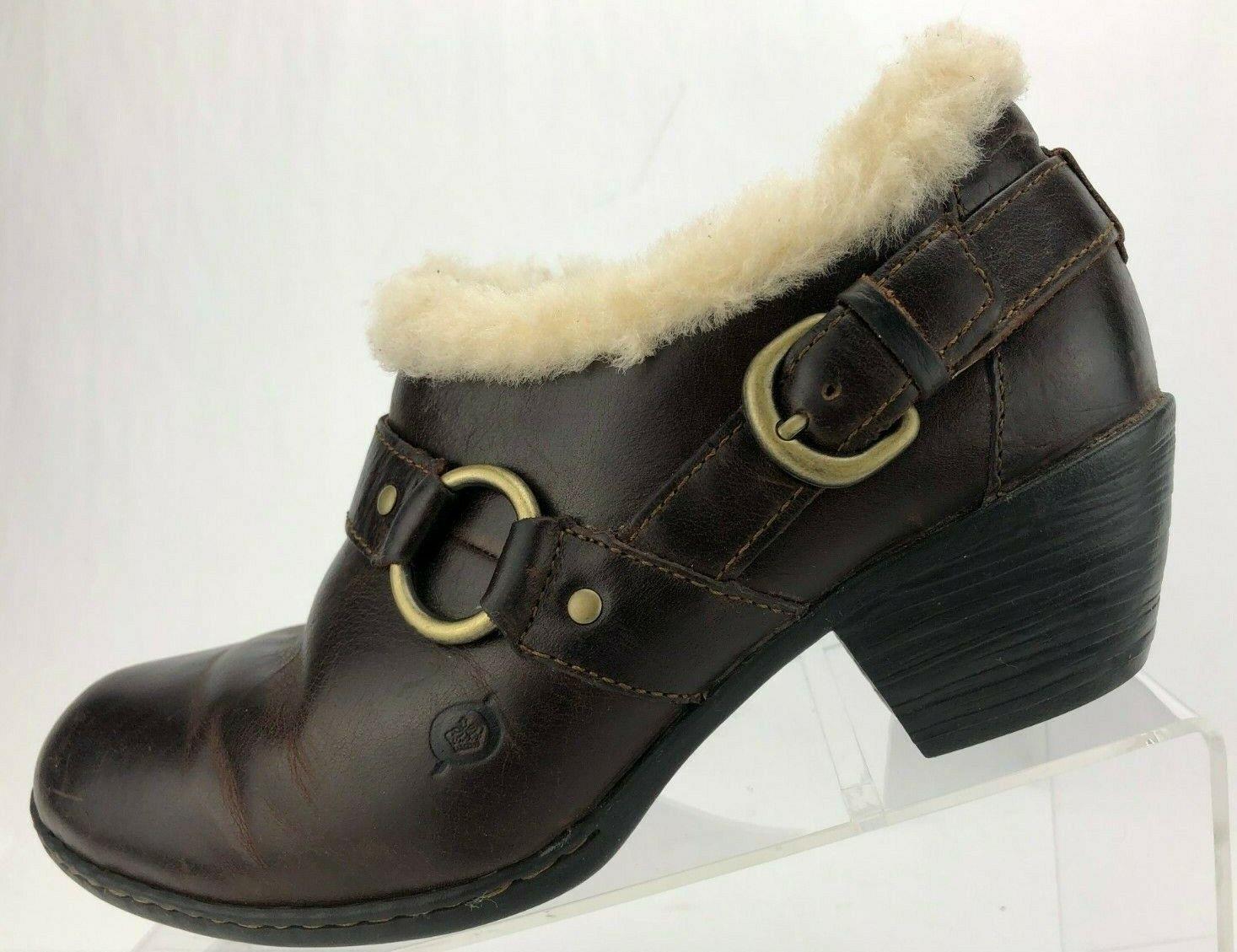 Nacido Botines Cremallera Marrón De Piel De Oveja Forrado Hebilla De Tobillo botas De Invierno Para Mujer 9 M Zueco