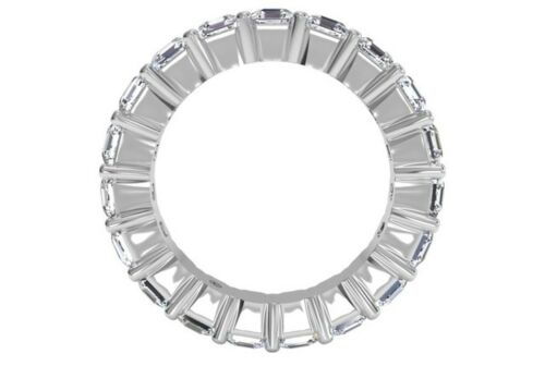 14K Solid White gold 5.00ct Asscher Eternity Diamond Engagement Wedding Band