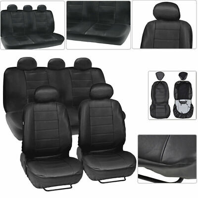 9× Car Faux Leather Seat Cover  Protector Front+Rear Cushion Mat Anti-UV Pad Set