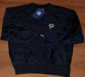 Miami-Dolphins-Pullover-Jacket-XL-Navy-Reebok-Embroidered-Logos-NFL