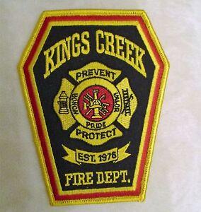 "Kings Creek Fire Dept Patch 4/"" x 5/"" North Carolina"