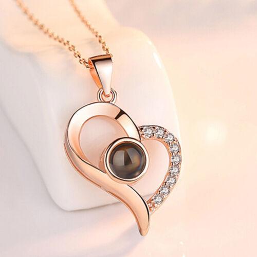 925 Silver 100 Languages Light I Love You Projection Pendant Charm Necklace   M