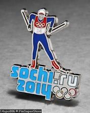 OLYMPIC PINS BADGE 2014 SOCHI RUSSIA CUT OUT SPORT OF CROSS COUNTRY SKI (SILVER)