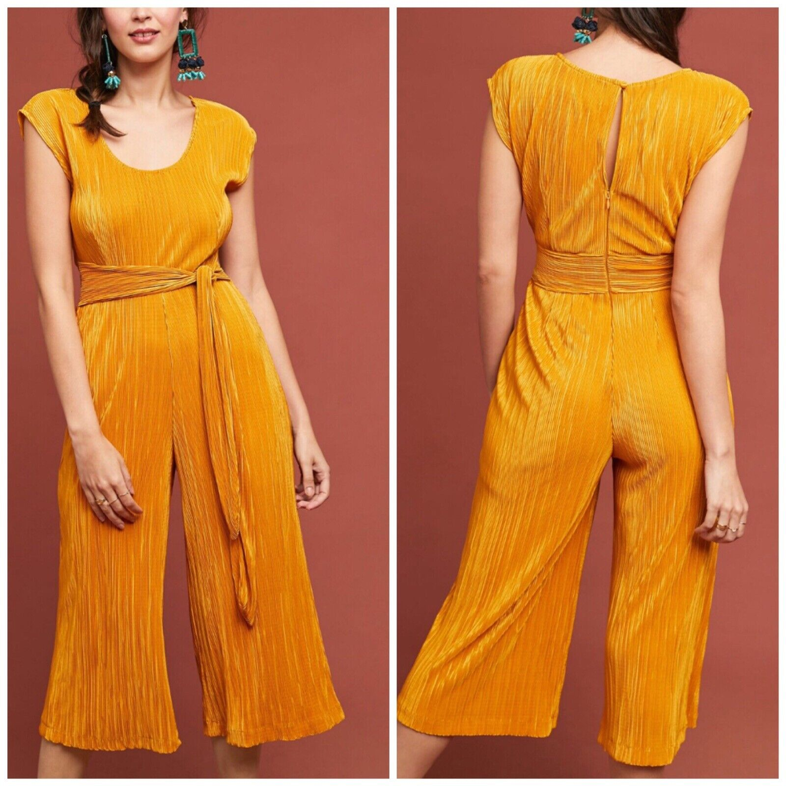 Anthropologie Maeve Sonata Jumpsuit Woman Size 14 New Mustard Pleated