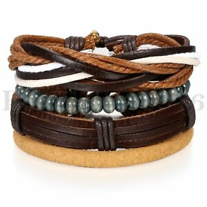 4pcs-Pack-Wood-Beaded-Leather-Charm-Bracelet-for-Men-Women-Braided-Wrist-Cuff
