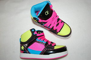 Girls-Athletic-Shoes-BLACK-amp-NEON-HIGH-TOPS-Yellow-Pink-Blue-12-13-1-2-3-4-5-6
