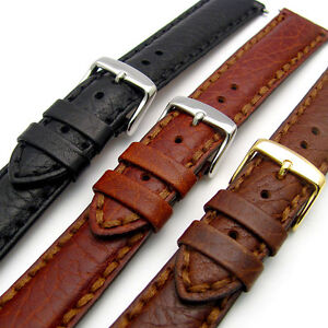Napoli-Luxury-Heavy-Stitched-Padded-Leather-Watch-Strap-Band-18mm-20mm-22mm-24mm