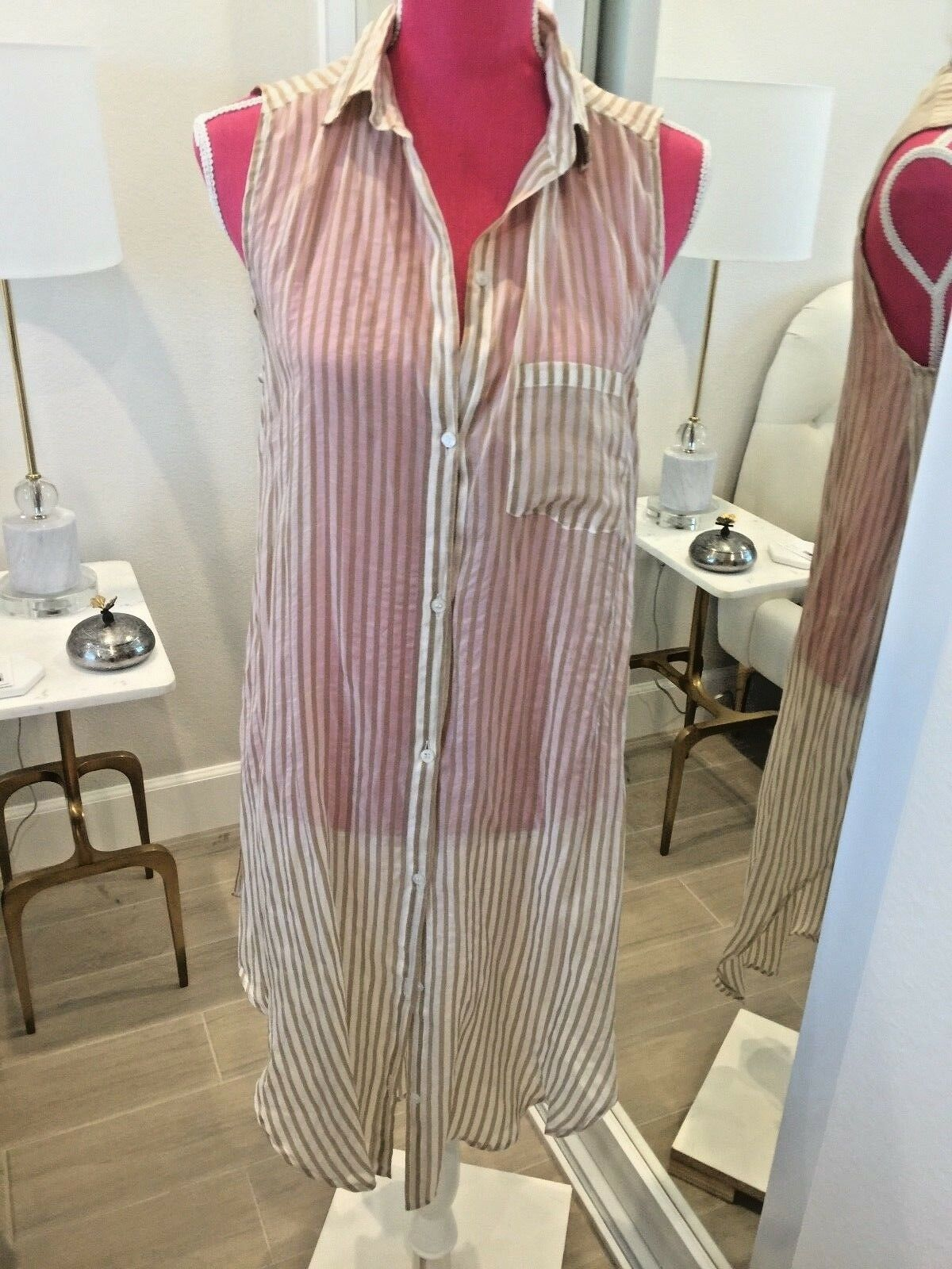 MES DEMOISELLES gold WHITE STRIPED LONG BLOUSE TOP SHIRT NEW WITH TAGS SIZE 38