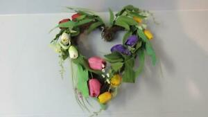 EASTER-SPRING-Wreath-Heart-Shaped-Natural-Vines-w-Colored-Tulips-16-x-17-NEW