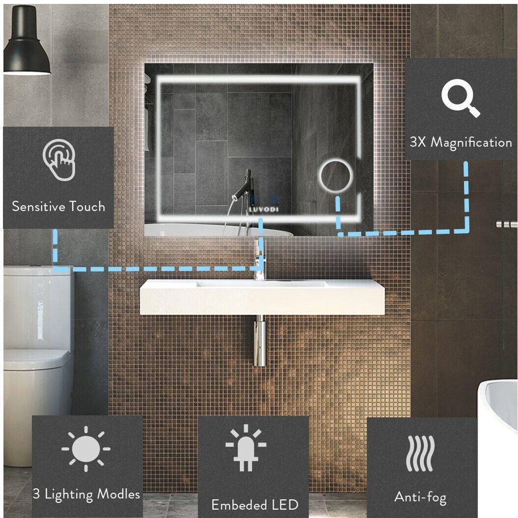LED Badspiegel Touch mit Beleuchtung Wandspiegel Spiegel Beschlagfrei 3 Modus DE