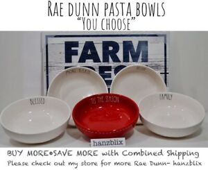 Rae-Dunn-Pasta-Bowl-SNACK-YUM-EAT-SOUP-SECONDS-PLEASE-034-YOU-CHOOSE-034-NEW-039-19-20