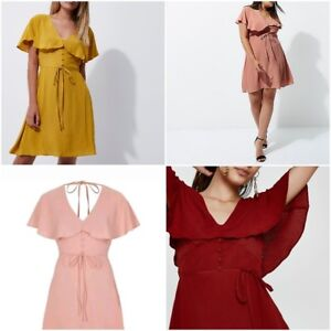 NEW-Ex-River-Island-Ladies-Cape-Sleeve-Summer-Tea-Dress-Size-6-14-RRP-40