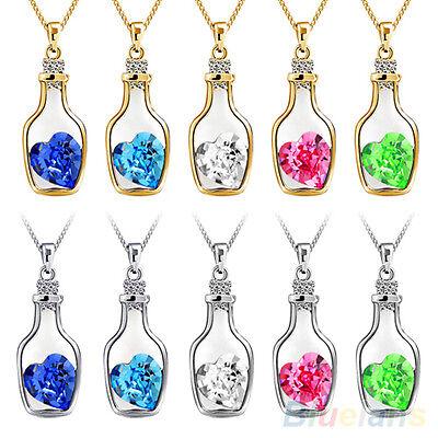 Stylish Womens Crystal Rhinestone Heart Drift Bottle Lucky Pendant Necklace Gift
