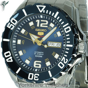 New-Seiko-Baby-Monster-Auto-Blue-Dial-With-Stainless-Steel-Bracelet-SRPB37K1