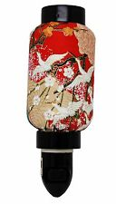 Red Crane Sakura Oriental Japanese Washi Night Light Lamp Candle Home Decor Gift