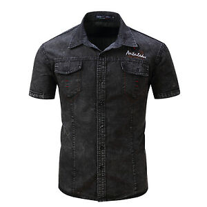 New-Mens-Fashion-Denim-Washed-Cotton-Short-Sleeves-Jeans-Shirts-Black-Blue-GD127