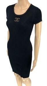 Auth-CHANEL-P37919-Coco-Mark-Short-Sleeves-Dress-36-Cotton-Silk-Black-Rank-AB