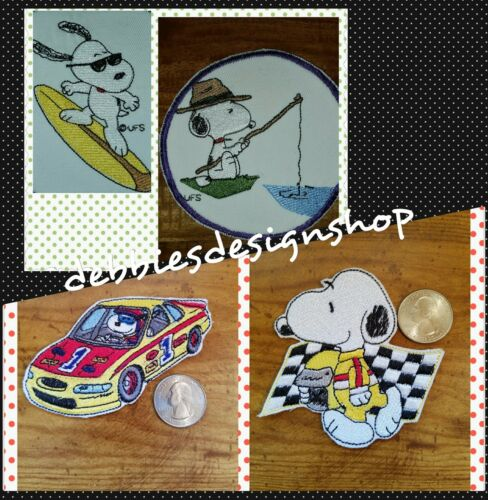 Snoopy Iron on Patches Fishing Car Racing and Surfing