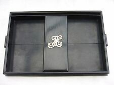 Antique ebony stationery tray silver letter