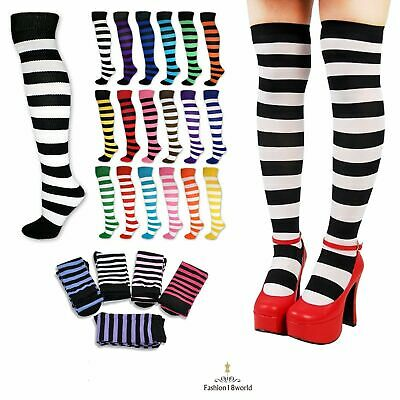 LADIES GIRL Long Over The Knee Referee Style Socks UK 4-7 COLOUR WITH STRIPES