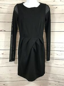 Women-s-Forever-21-Black-Front-Pleated-Sheer-Long-Sleeve-A-line-Sz-M-Dress