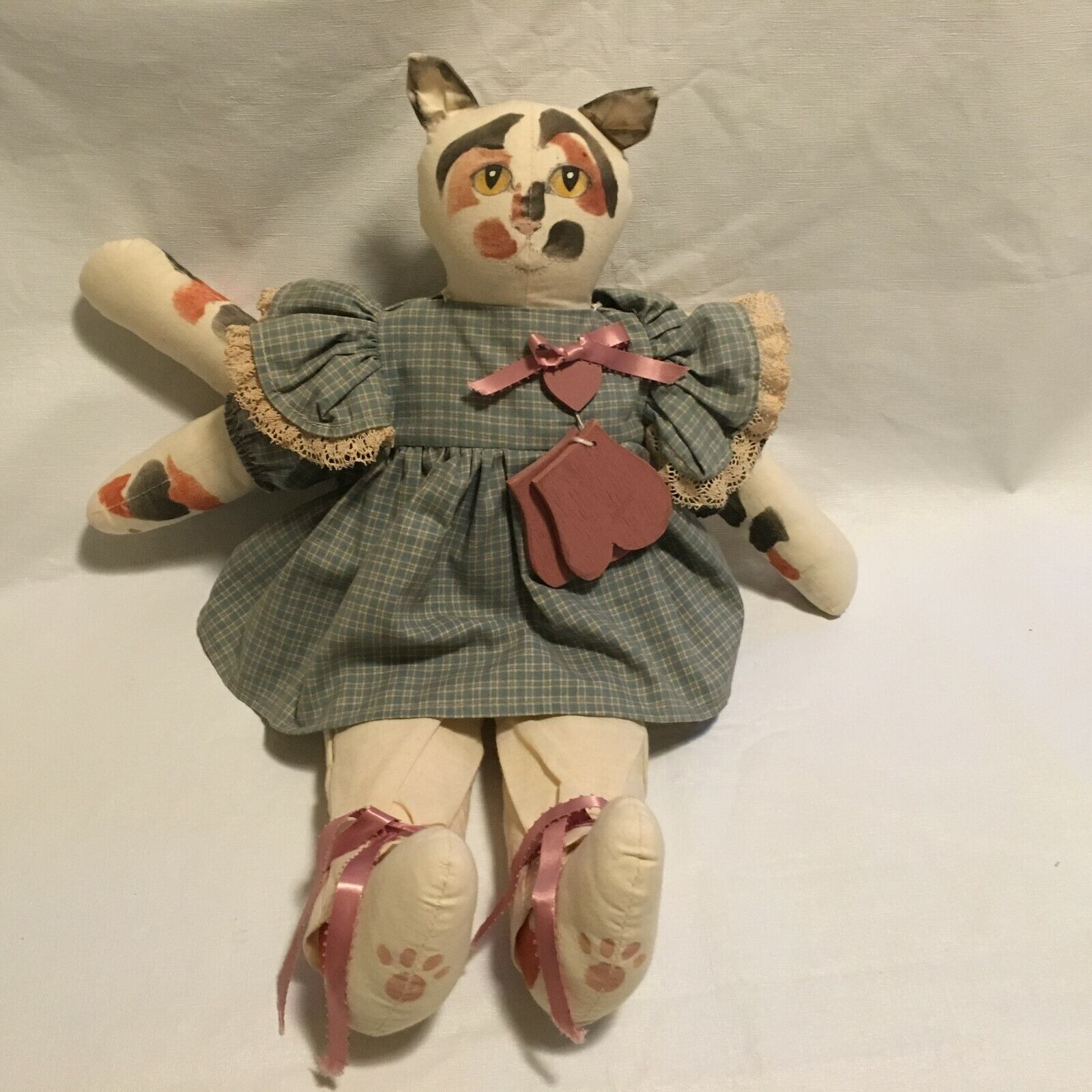 Vintage Hand Made Plush Stuffed Cat  1988 Signed Miss Prissy's Series