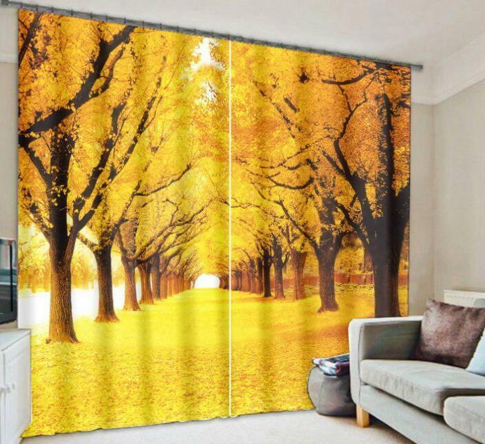 3D Forest Road Blockout Photo Curtain Printing Curtains Drapes Fabric Window CA