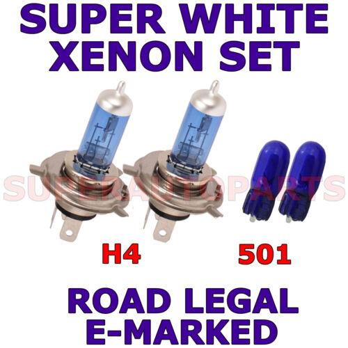 FITS VAUXHALL ASTRA 1991-1997 SET H4 501 HALOGEN XENON SUPER WHITE  LIGHT BULBS
