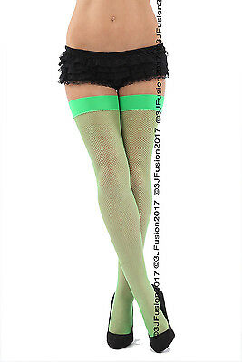 Hingebungsvoll Women's Ladies Fishnet Fashion Stockings Bright Neon Green Great Price (ex)