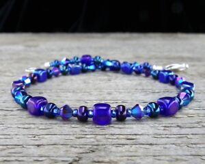 Details About Iris Blue Anklet Cobalt Gl And Swarovski Crystal Ankle Bracelet Sm Xl