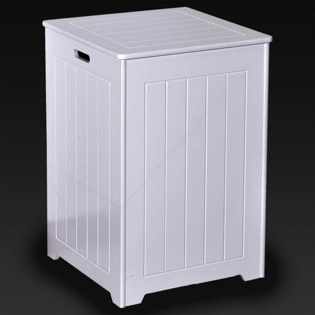 Large Laundry Bin Basket White Wooden Square Hamper Bathroom Bedroom Hinged Lid