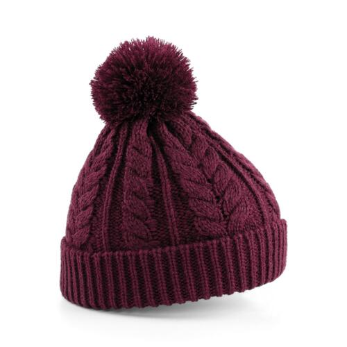 New BEECHFIELD Unisex Cable Knit Snowstar Winter Beanie Bobble Hat in 4 Colours